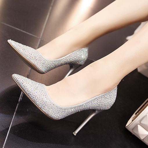 Rhinestone Banquet Party Shoes for Bride