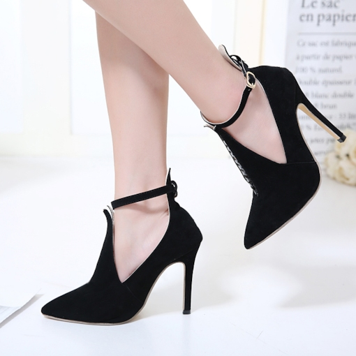 Pointed Toe Hollow Buckle Women's Black High Heels