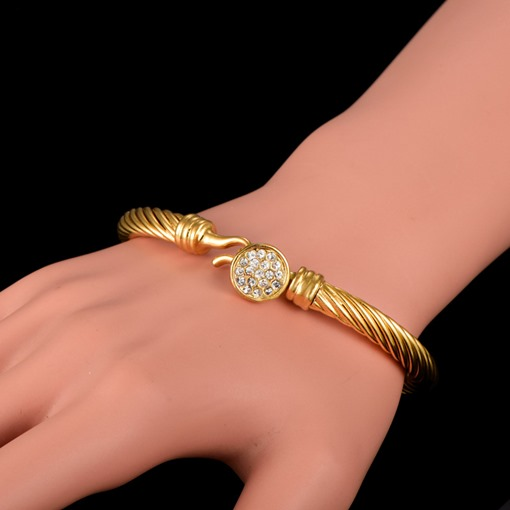 Round Diamante 18K Gold Plated Bracelet