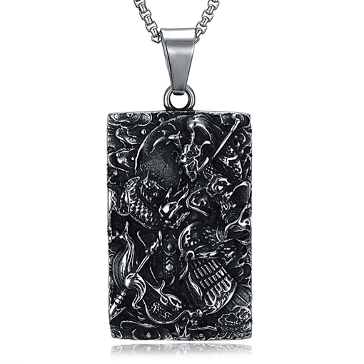 Rectangle Link Chain Carve Ancient Maya Men's Necklace