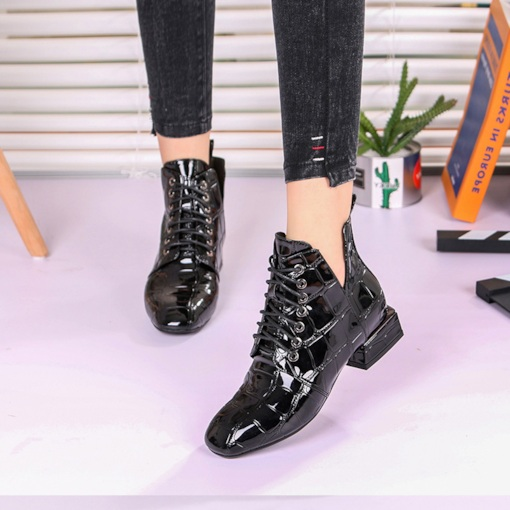 Lace Up V Collar Block Heel Women's Shoes