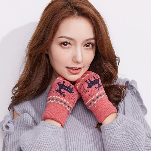 Christmas Thicken Knitting Wool Touch Screen Gloves