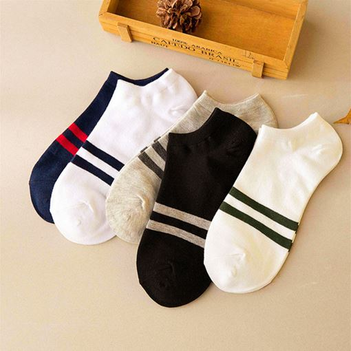 Stripe Bling Male Thin Deodorization Socks (5 Pairs )