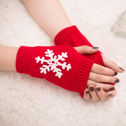 Snowflake Knitted Embroidery Warmth Fingerless Gloves
