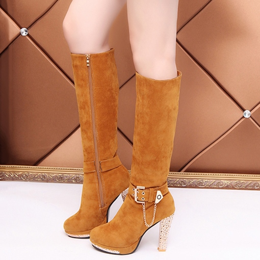 Platform Chunky Heel Suede Zipper Knee High Boots