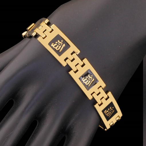 Oil Drip 18K Gold Plated Bronze Religion African Bracelet