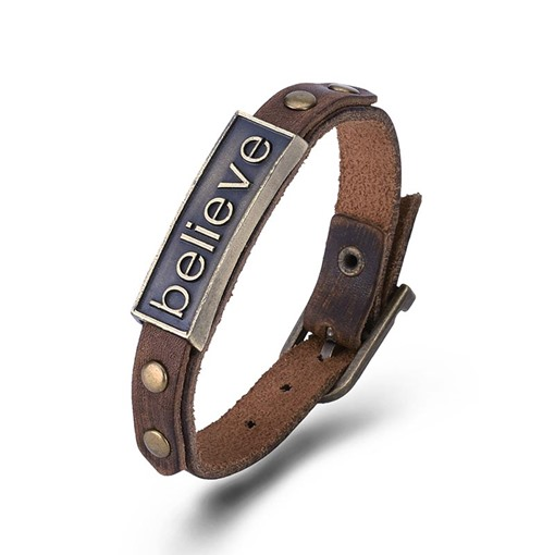 Cowhide Lettering Alloy Rivets Punk Men's Bracelet