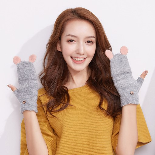 Flip Gloves Knitted Cashmere Cat Ears Gloves