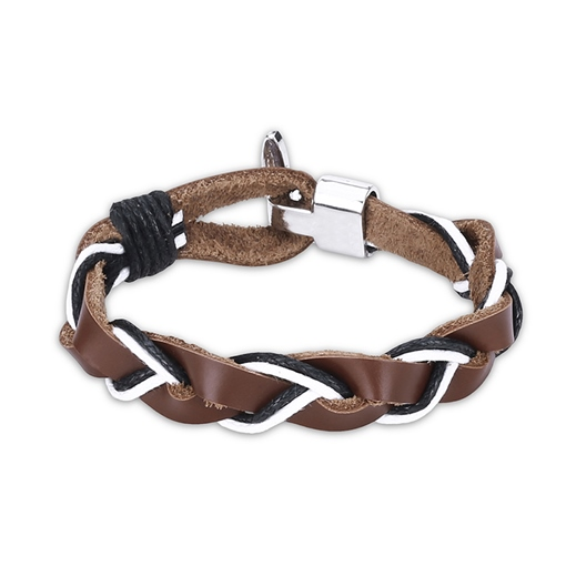 Artificial Leather Rope Alloy Woven Men's Bracelet