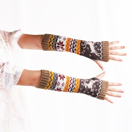 Christmas Elk Snowflake Printing Ribbed Cuffs Gloves