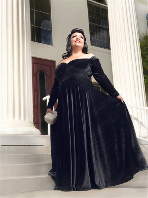 Long Sleeve Off the Shoulder Velvet Mother of the Bride Dress