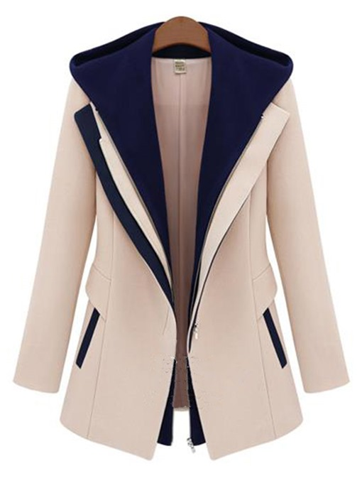 Double Layer Color Block Slim Fit Women's Overcoat