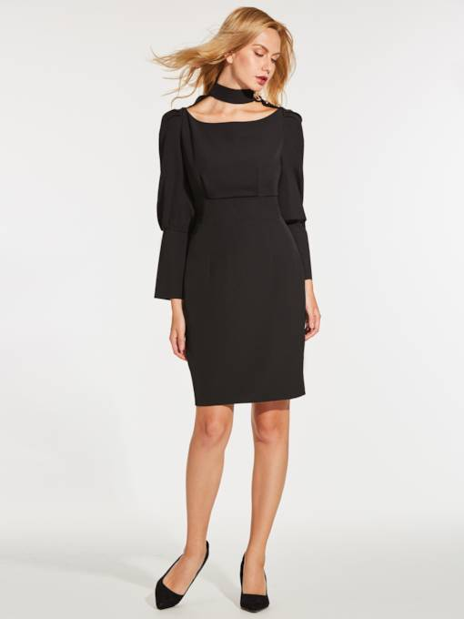 Black Turtle Neck Women's Bodycon Dress
