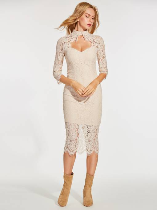 Khaki 3/4 Sleeve Women's Lace Dress