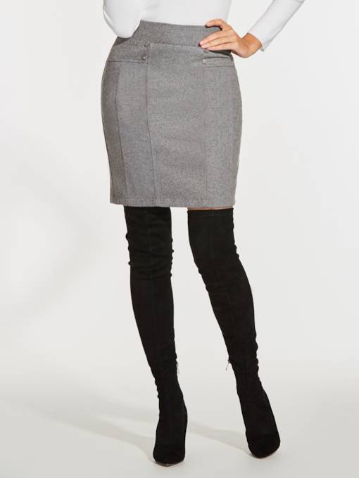 Plain Straight Women's Work Mini Skirt