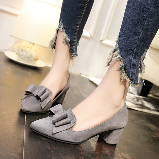 Suede Bow Thick Heel Women's Pumps