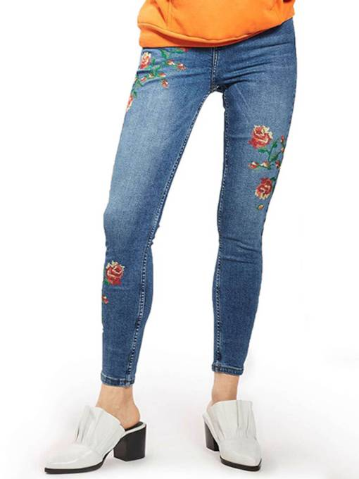 Floral Embroidery High Waist Pocket Women's Jeans