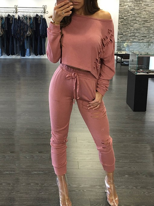 Loose Hole Lace-Up Women's Two Piece Set