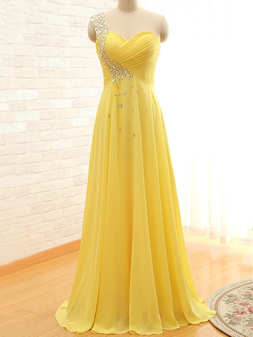One Shoulder Rhinestone Pleats Prom Dress