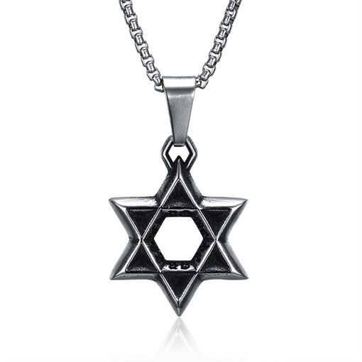 Hollow Out Hexagram Shaped Stainless Steel Men's Necklace