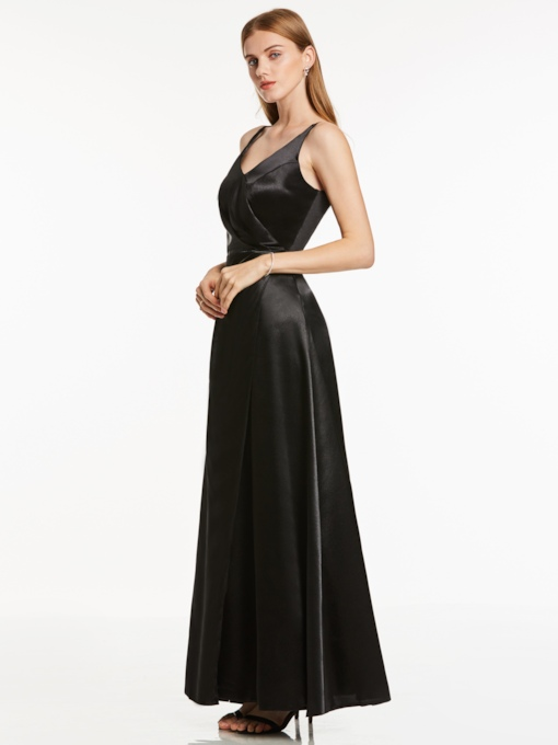 A-Line V-Neck Zipper-Up Evening Dress