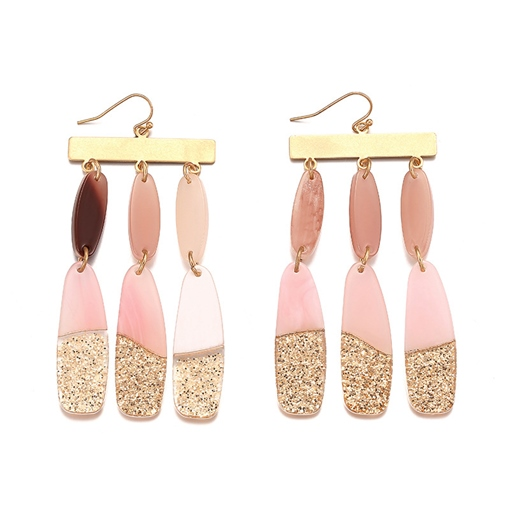 Pink Gold Patchwork Winter Acrylic Earrings