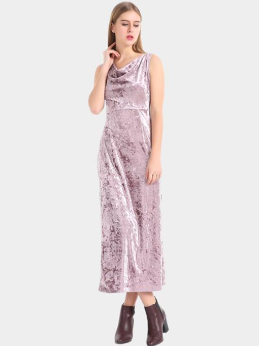 Pink Split Heaps Collar Velvet Women's Maxi Dress