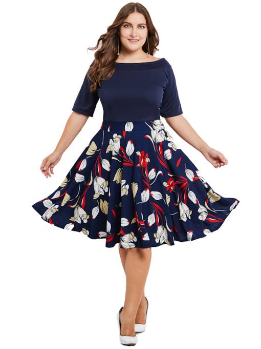 Plus Size Falbala Dark Blue Printing Women's Day Dress