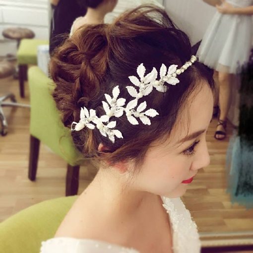 Handmade White Leaf Bride Hair Accessories
