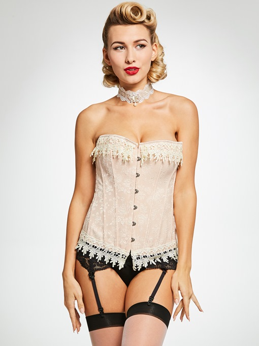 Print Front Closure Plus Size Corset