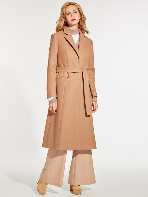 A-Line Notched Lapel Plain Women's Overcoat