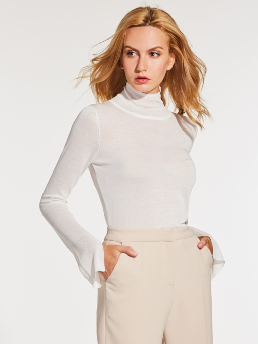 Slim Turtleneck Plain Thin Women's Sweater