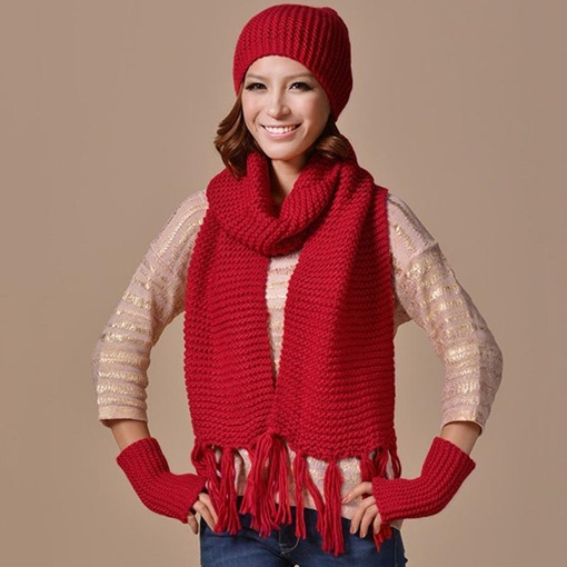 Christmas All Match Knitted Solid Color Hats&Scarfs&Gloves Accessories