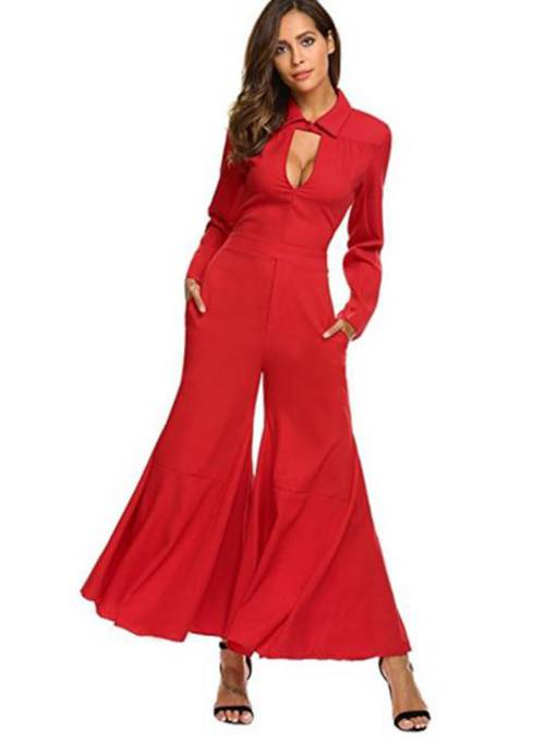Slim Hollow High-Waist Polo Women's Palazzo Jumpsuits