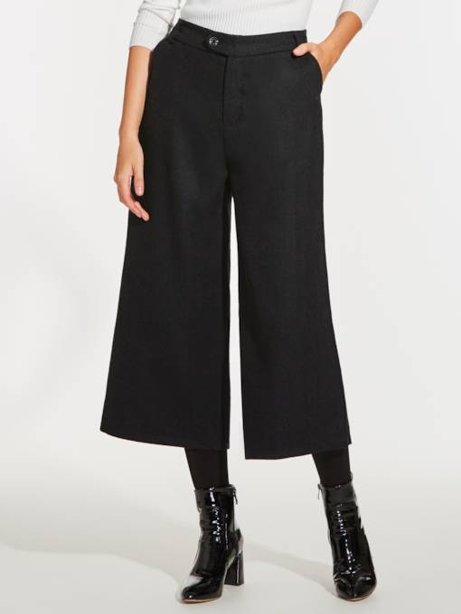 Wide Legs Elastic Waist Women's Casual Pants
