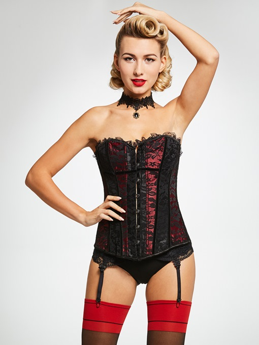 Lace Color Block Sleeveless Corset