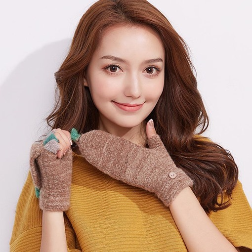 Button Color Block Orlon Knitted Winter Flip Gloves