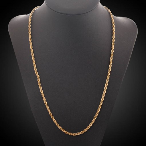 Twist Wave 18K Gold Plated Bronze Luxurious African Men's Necklace