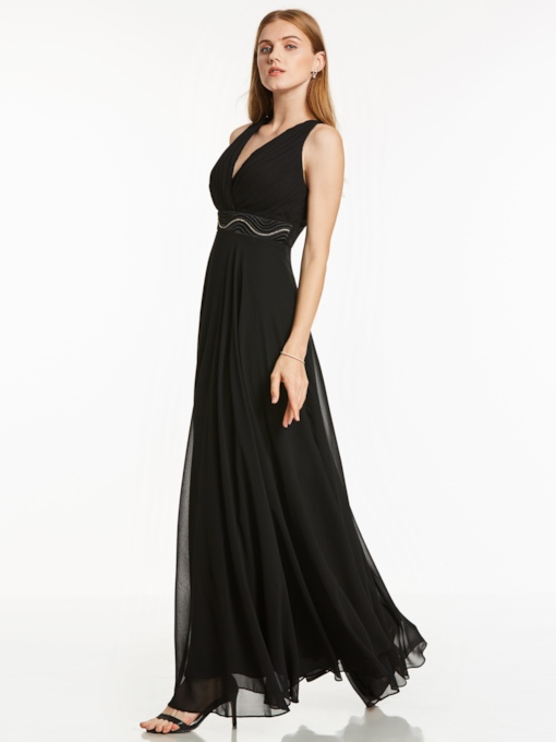 Empire Waist V-Neck Beading A-Line Chiffon Evening Dress