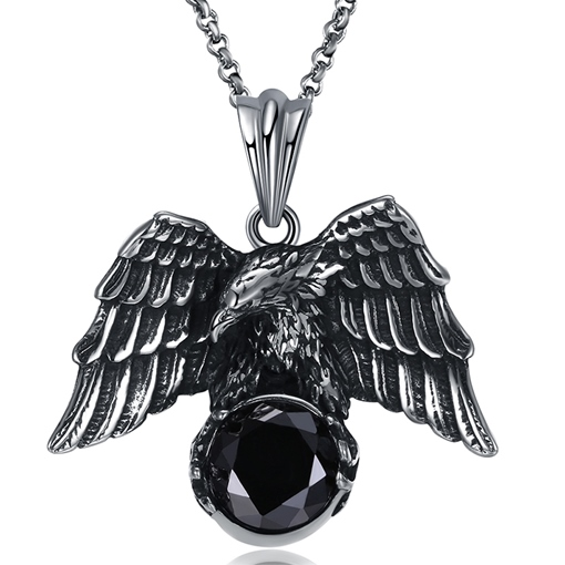 Stainless Steel Zircon Inlaid Eagle Shaped Men's Necklace