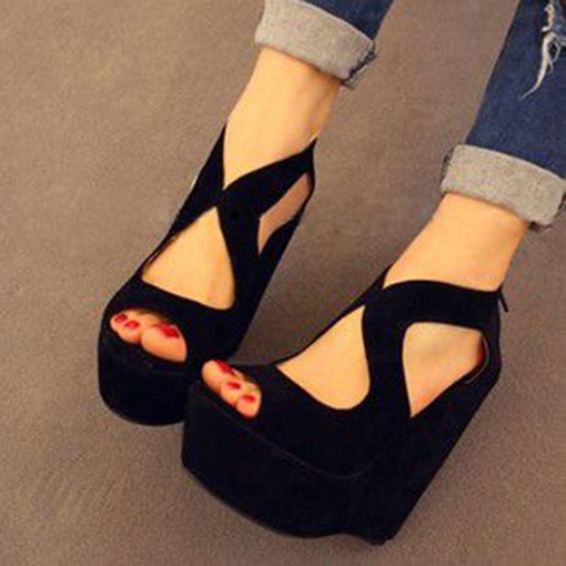Peep Toe Wedge Heel Black Sandals for Women