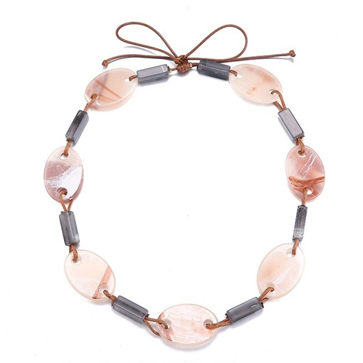 Bowknot Pink Gray Acrylic Woven Necklace