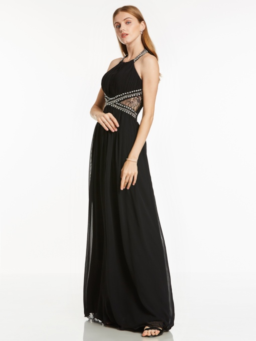 Halter Neck Beaded Pleats A Line Evening Dress
