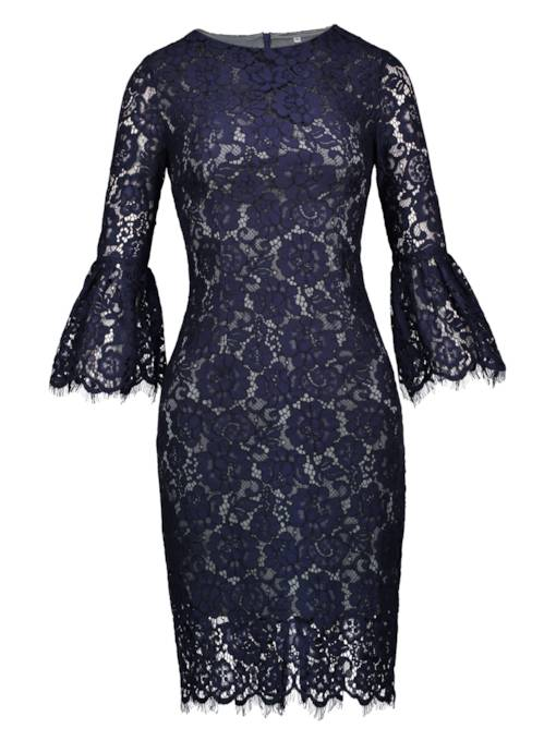 Dark Blue Bell Sleeve Lace Women's Pencil Dress