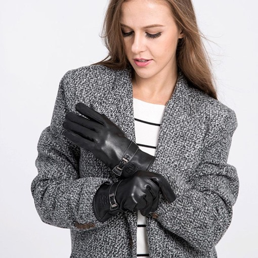 Brushed Black Warmth Button Winter Gloves