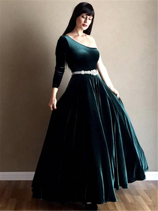 One Shoulder Long Sleeve Belt Velvet Mother of the Bride Dress