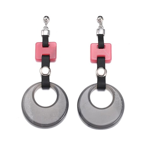 Color Block Alloy Hollow Out Acrylic Earrings