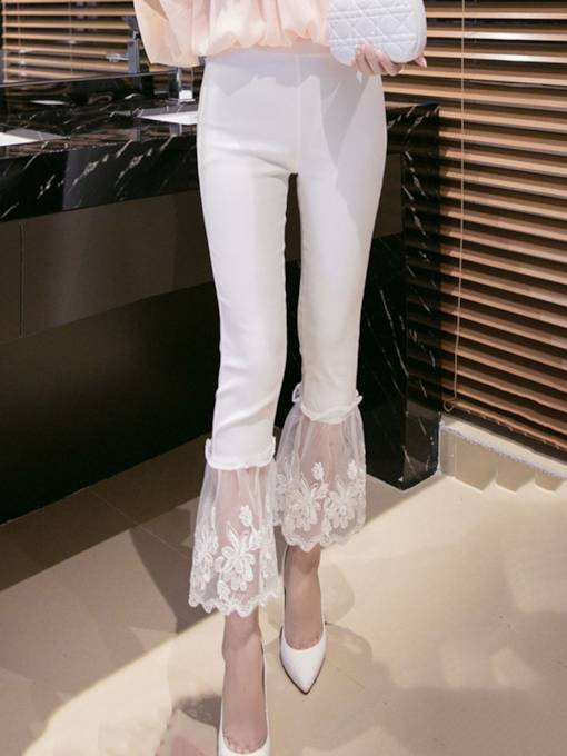 Slim High Waist Lace Patchwork Women's Bellbottoms
