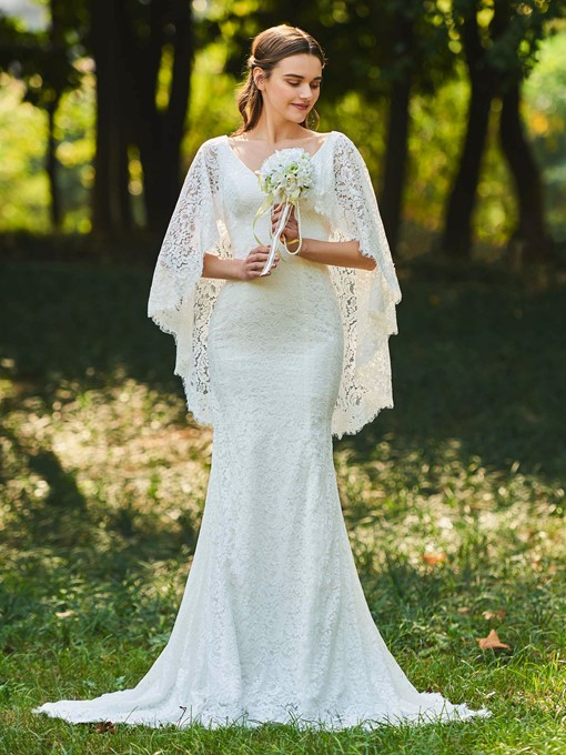Sleeves Mermaid Lace Wedding Dress 2019