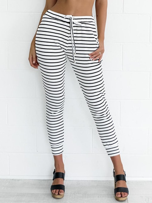 Slim Stripe Lace-Up Women's Casual Pants
